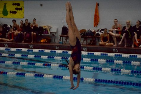 Sophomore Ali An currently in 4th and will dive at section final on Saturday