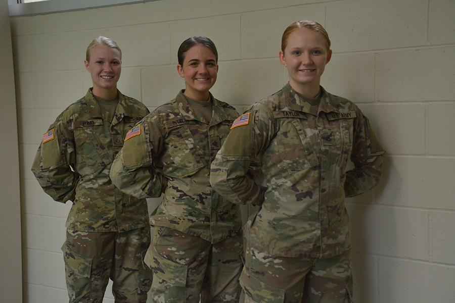 Seniors+Jade+Fumo%2C+Ashley+Intress+and+Shelby+Taylor+standing+in+their+Military+uniforms