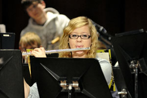 Senior Kaylee Johnson plays her flute.
