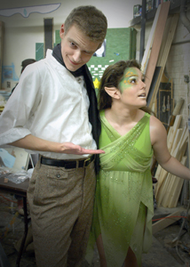 Matthew Reinhard and Avianna Alba backstage as Frances Flute and Fairy Mustard Seed