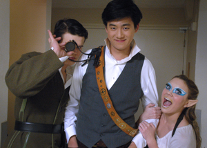 Thomas Boisen, Ryan Huang, and Jaylin Evert have fun behind stage during the rehearsal of the Midsummers Night Dream.