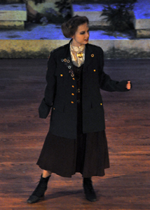 Hermia (Emily Gebur) preforms a monologue on stage for A Midsummer Night's Dream.