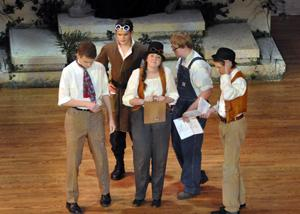The mechanicals (from left - Matthew Reinhard, Thomas Boisen, Madalyn Vieths, Andrew Dallmann, and Thomas Borgerding) during the Sunday performance of A Midsummer Night's Dream.
