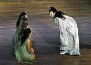 Titania (Ella Rasp) addresses her fairies (from bottom - Lauren Stewart, Hannah Valen, Morgan Abbe, Avianna Alba).