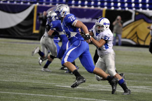 Senior Captain Andrew Stelter shaking of one of Brainerd's players.