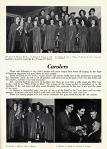 The Carolers page featured in the 1950 Totem shows a large group photo and staged photos with students of the group.