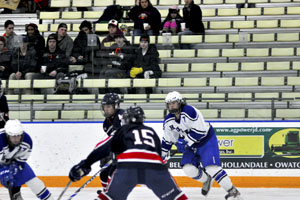 Jordan Klein going to intercept the puck