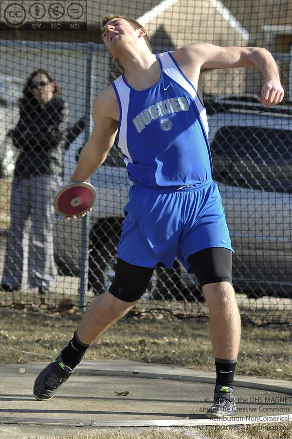 Joash Rockensock throws discus for the Owatonna B team; he placed 5th overall