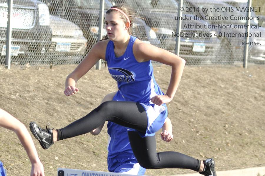 Morgan Malo takes the hurdles in leaps and bounds, placing 9th for Owatonna