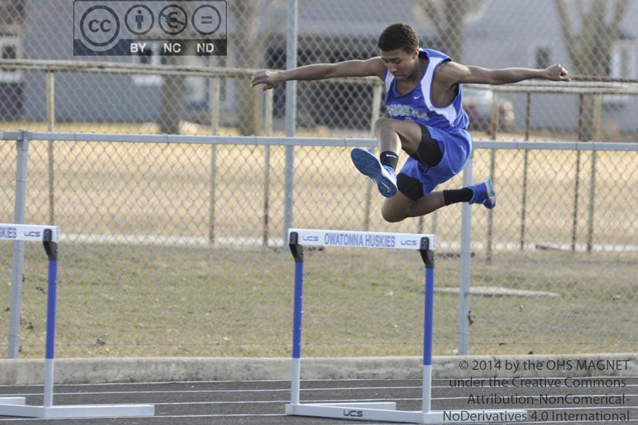 Jadyn Gunderson rises above the hurdle, easily overtaking the obstacle