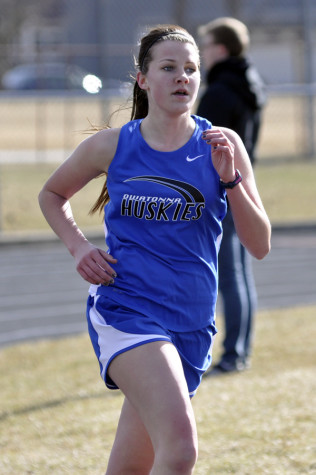 Junior Haylee VanEngelenhoven sprints on the track