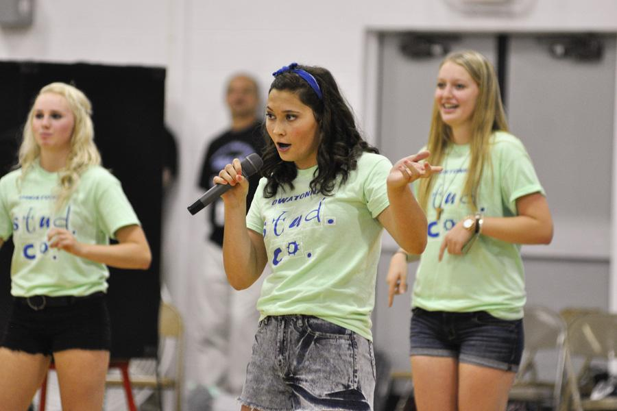 Senior Stud Co member Anna Moe belts off her new rendition of a popular song substituting her name in the lyrics