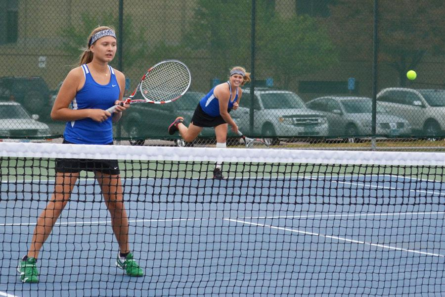 Paige Janka and Millie Wanous hitting the ball