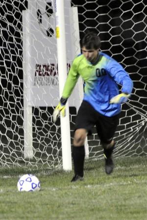 Layne Frank winds up to take a goal kick
