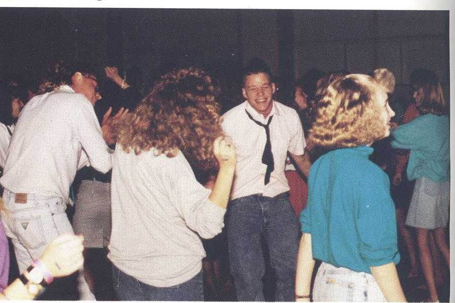 This shows the Homecoming Dance informal attire in 1991