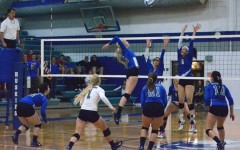 Senior Allison Falken hitting the ball for the kill