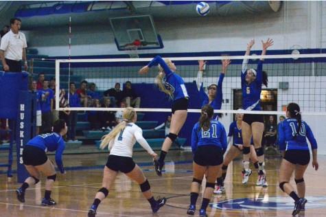 Senior Allison Falken hitting the ball for the kill