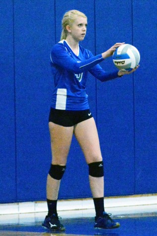 Senior Allison Falken preparing to serve the ball