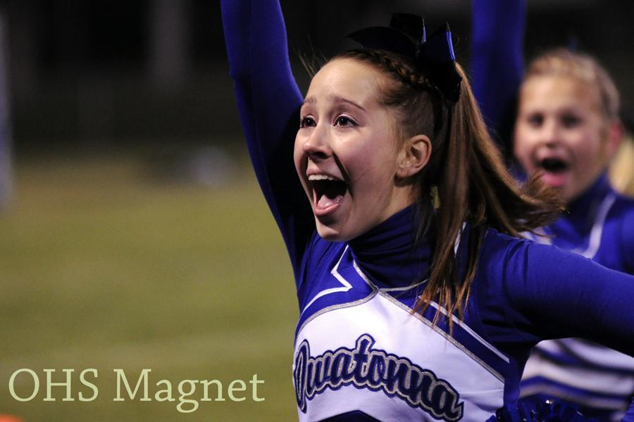 Senior Riley Resler cheers a crowd favorite