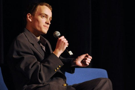 Junior Matt Reinhard  answers questions