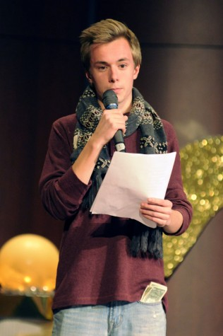 Sophomore Brice Lauwers  does poetry