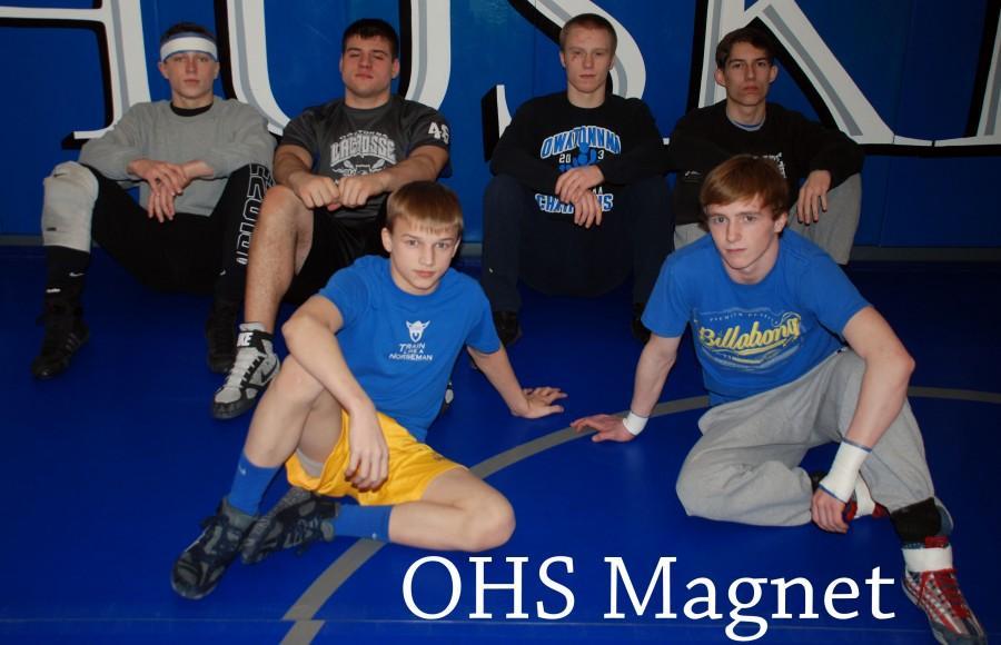 Sophomore Brandon Moen, Junior Austin Abbas, Senior Alex Green, Senior Justin Tacheny, Freshman Peyton Robb, and Sophomore Tanner Cole