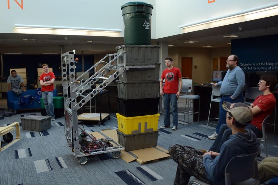 Robotics team testing out the robot