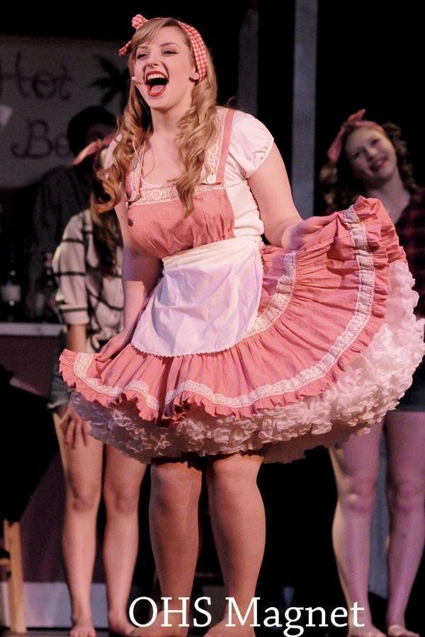 Miss Adelaide (Jessica Friedman) belts A Bushel and a Peck