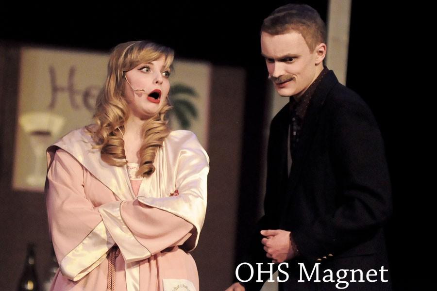 Miss Adelaide (Jessica Friedman) nags Nathan Detroit (Matt Reinhard)