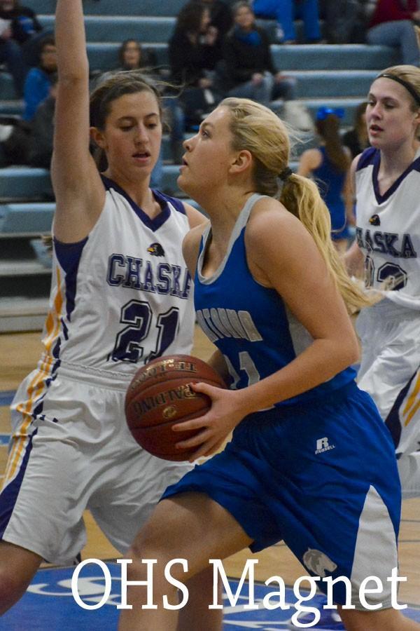 Carli Langeland about to shoot a basket
