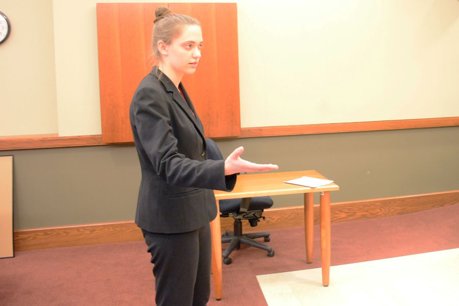 Sophomore Sophie Paley gives her direct examination for the prosecution