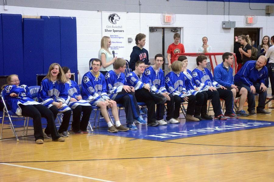 The entire Adaptive Floor Hockey team