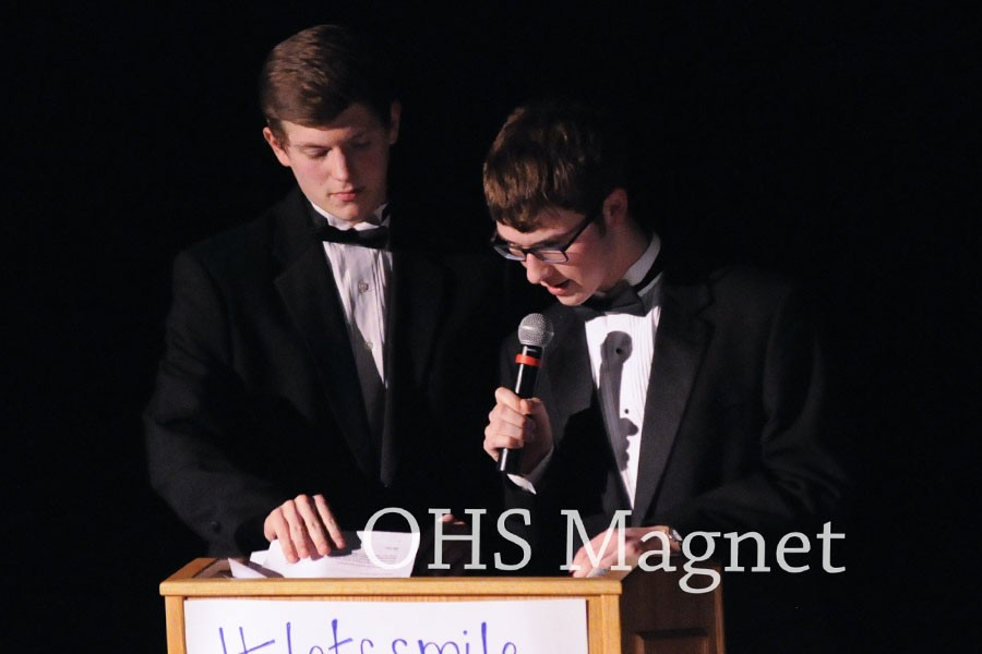 Seniors Matt Kingland and Jacob Hellevik emcee, looking classy in their suits