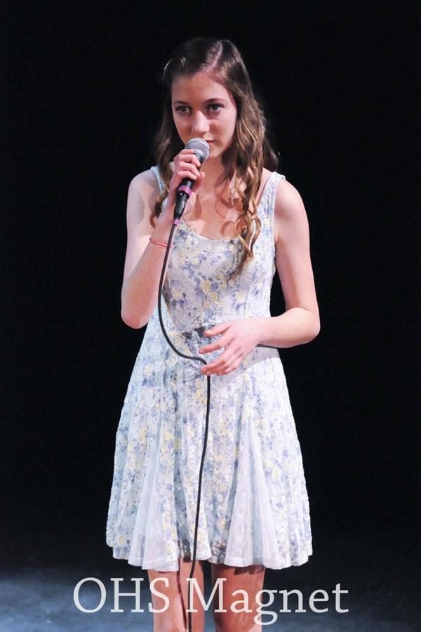 Freshman Danielle Erola sings