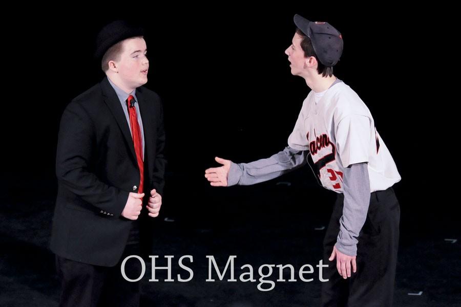 Freshmen Nicholas Hagen and Sheldon Jensen preforming