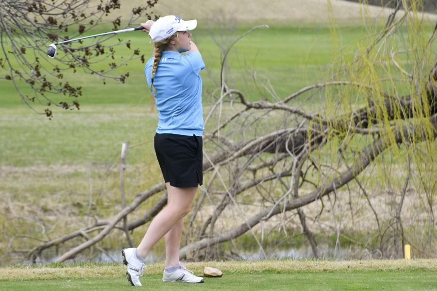 Megan Peglow sending her ball deep into the course