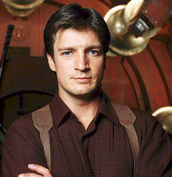 Captain Malcolm Reynolds, played by Nathan Fillion (Castle, Dr.Horribles Sing Along Blog, Serenity)