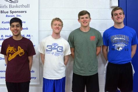 Boys Track team senior captains Qahir Lakha, Jacob Zabel, Matt Kingland and Jesse Starks