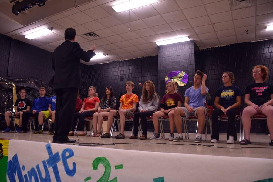 The twelve participants in the hypnotists show