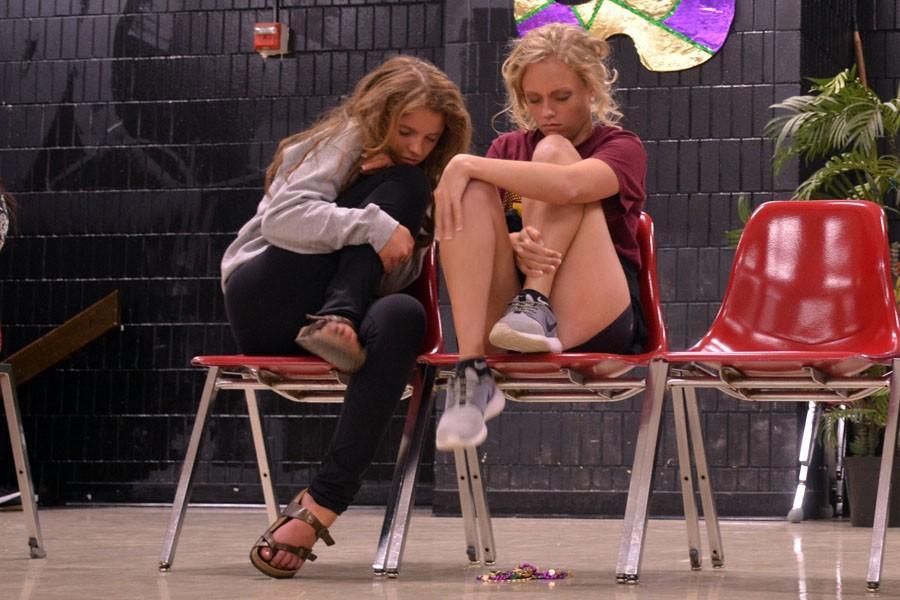 Junior Maria Golberg looks to Senior Rachel Belina for warmth