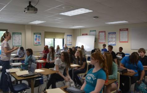 Mrs. Kristen Andrix teaching her 2nd hour AVID class