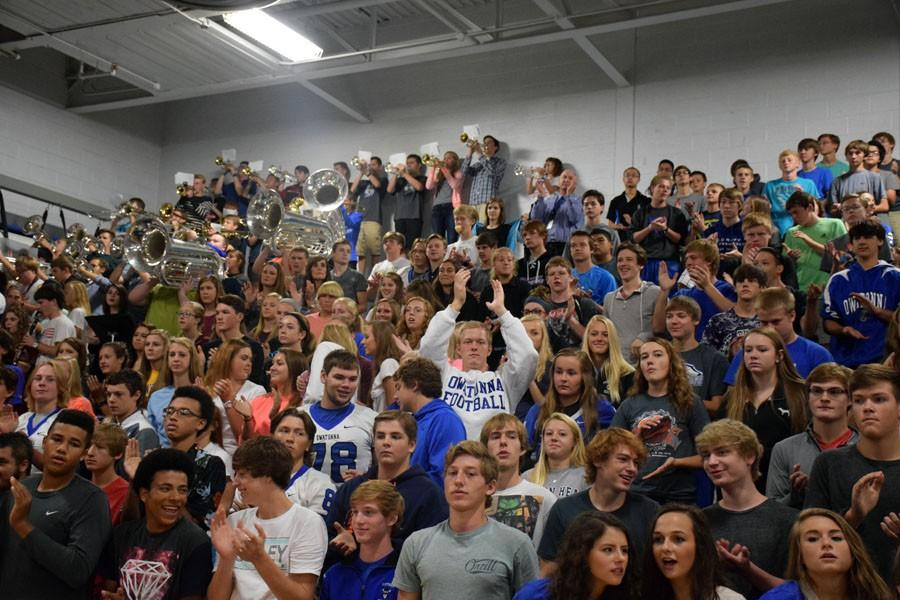 Sophomore student section cheering during the pepfest