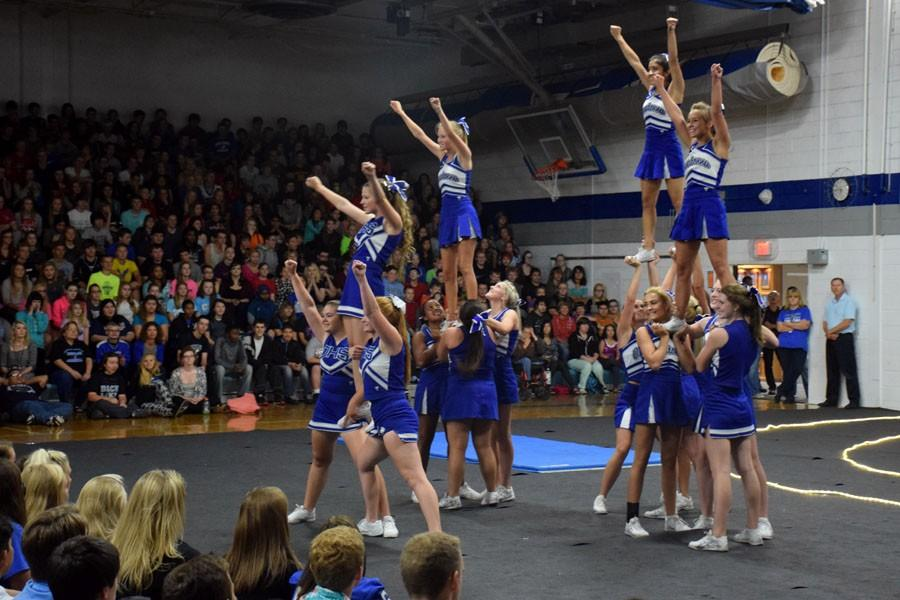 Owatonna Cheerleaders during the pepfest