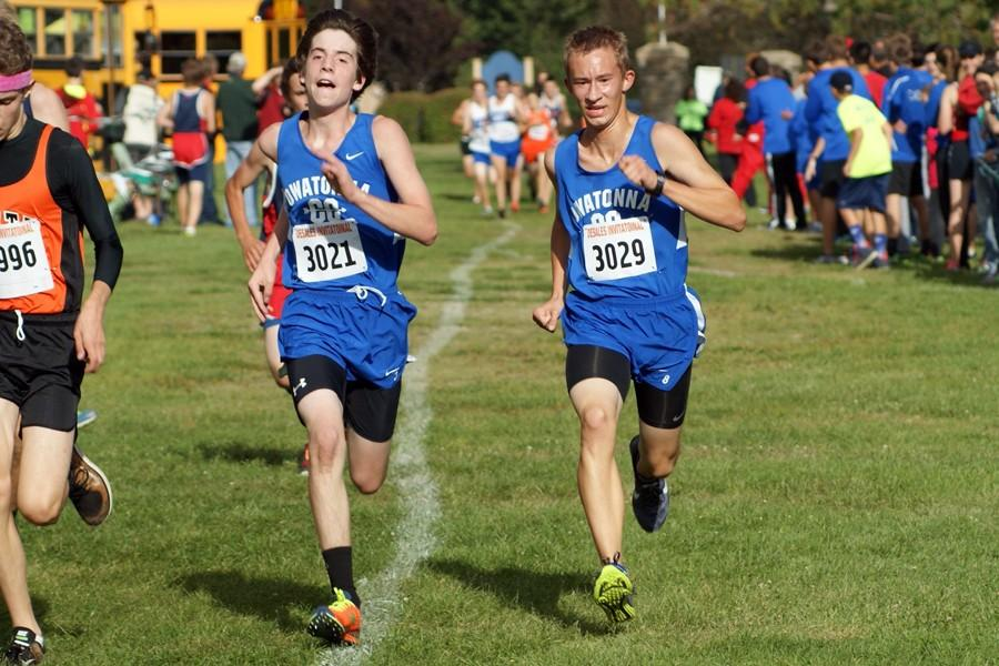 Freshman Caedon McCartney and Sophomore Evan Steiger race each other at the final stretch