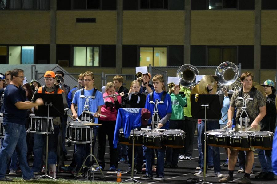 Owatonna Pep Band playing during the game