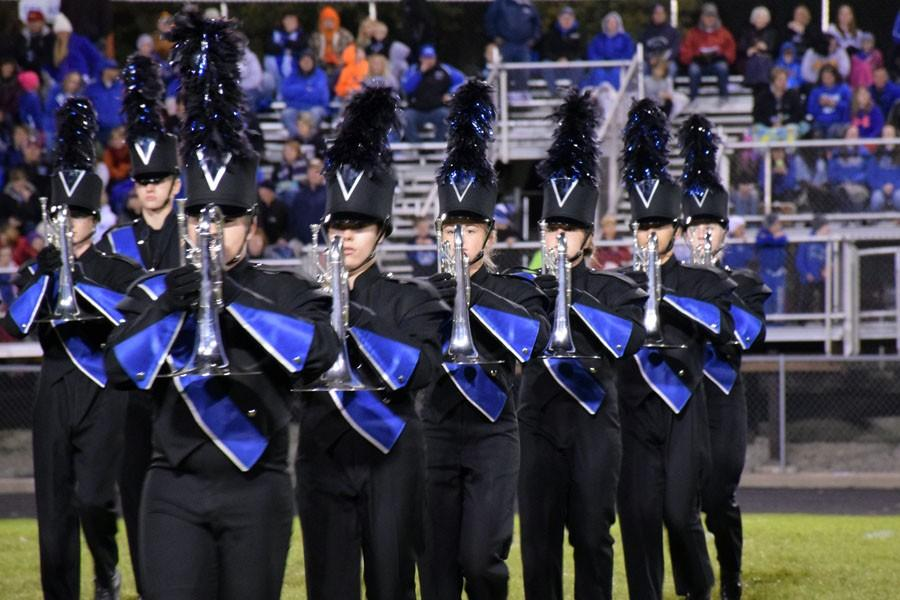 Owatonna Marching Band during the halftime performance