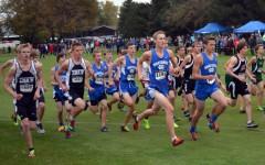 Owatonna Boy's Cross Country running in their meet