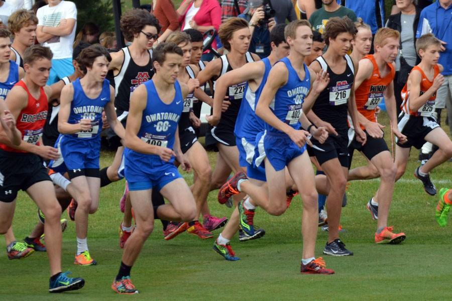 Owatonna boys cross country starting off the race