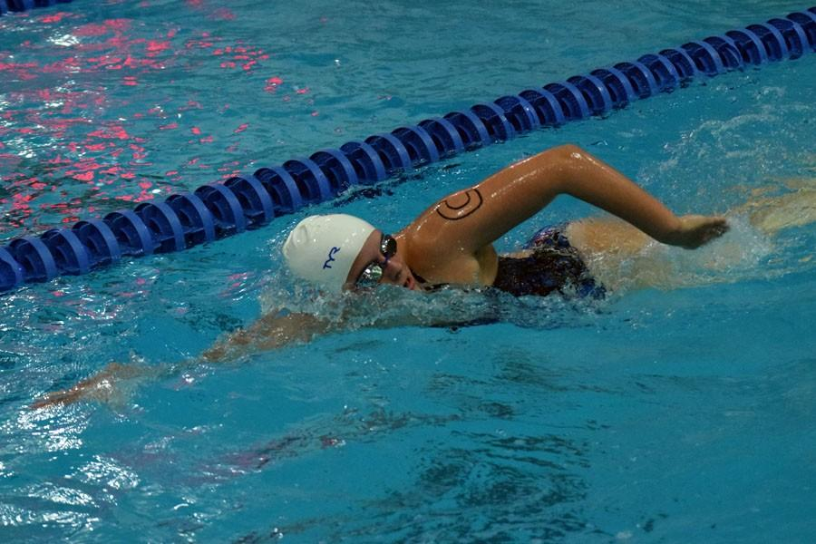 Ashley Beckman swims the freestyle for OHS