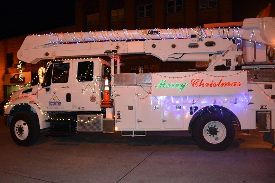 Owatonna Public Utilities service truck decked out with lights